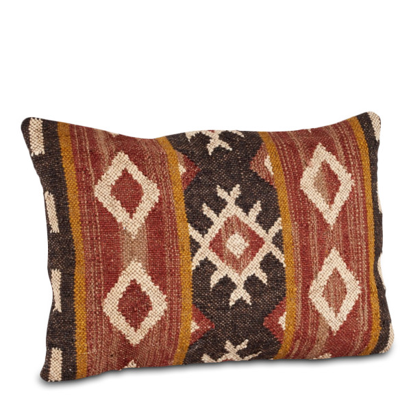 "SARO Kilim Design Pillow Set, 16"" by 23"", Multicolor, Oblong"