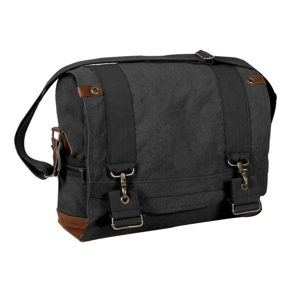 Rothco Vintage Canvas B-15 Pilot Messenger Bag, Black, One-Size