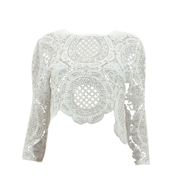 Froomer Women Sexy Lace Hollow Crop Tops Long Sleeve Zipper Blouse White S