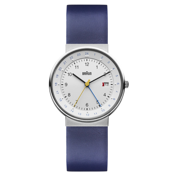Braun Men's World Timer Analog Display Swiss Quartz Blue Watch