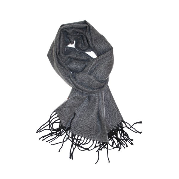 SethRoberts-Men's Traditional Herringbone Weave Cashmere Blend Winter Scarf in Light Gray with Black