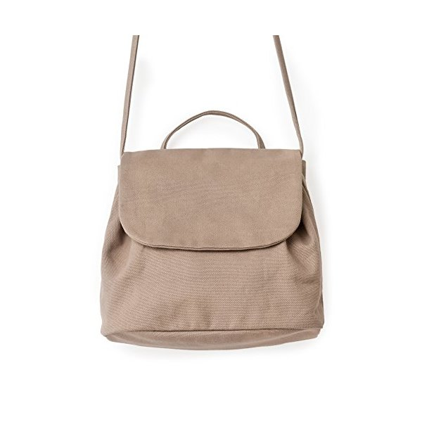 BAGGU Canvas Shoulder Bag 2, Stylish and Roomy Purse for Daily Essentials, Mushroom