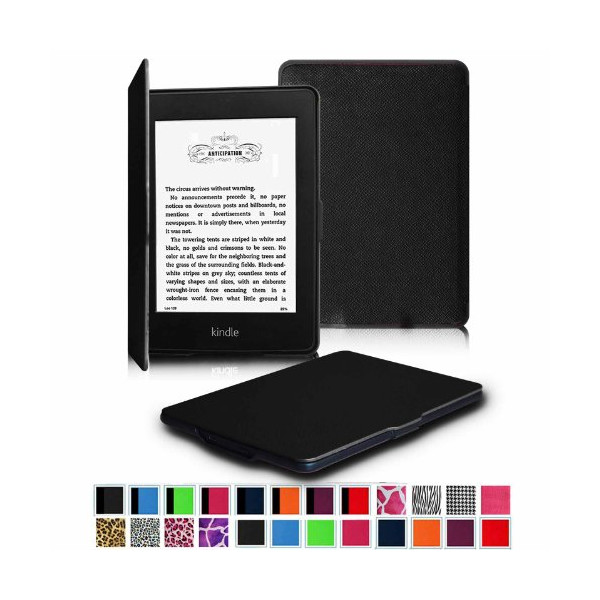 "Fintie Kindle Paperwhite SmartShell Case - The Thinnest and Lightest Leather Cover for Amazon Kindle Paperwhite (Both 2012 and 2013 Versions with 6"" Display and Built-in Light), Black"