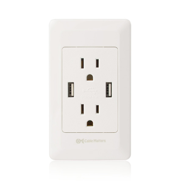 Cable Matters Duplex Receptacle with Dual USB Charging Ports