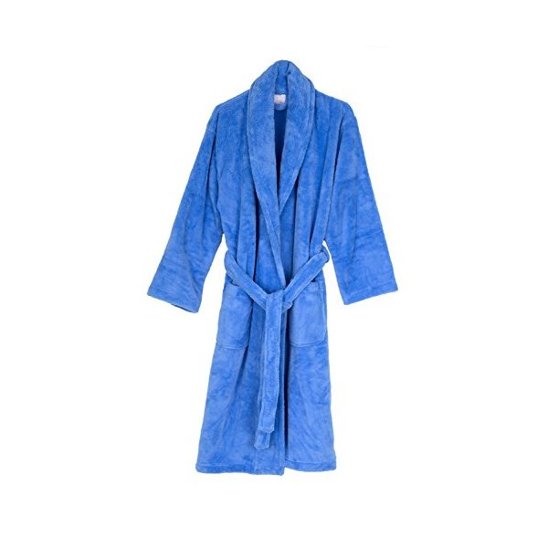 TowelSelections Super Soft Plush Bathrobe Fleece Spa Robe for Women and Men Large/X-Large Vista Blue