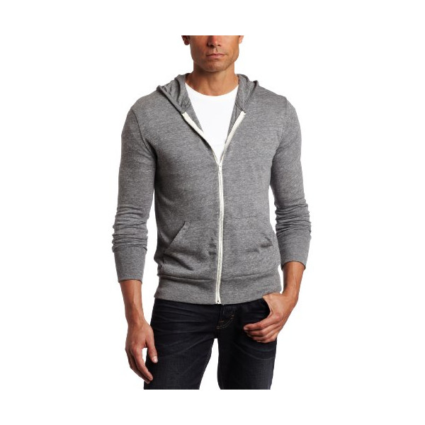 Alternative Men's Zip Hoodie Shirt, Grey, Medium