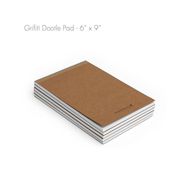 """Grifiti Dootle Pad 6"""" X 9"""" Junior Legal 5 Pack Brown Craft Art Cover Fits Dootle iPad Air Folio Combination Blue 0.5"""" Ruled and 0.125"""" Grid Front Side and Blank Back Side Paper Notepad for Writing Notes, Drawing, Doodling"""