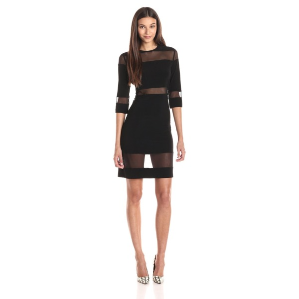 KAMALIKULTURE Women's Mesh Insert Dress, Black, X-Small