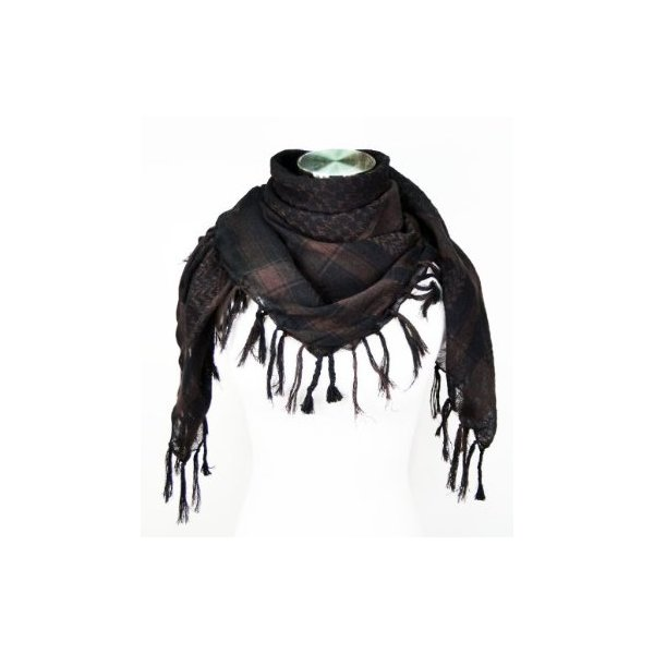 Premium Shemagh Head Neck Scarf - Dark Brown/Black