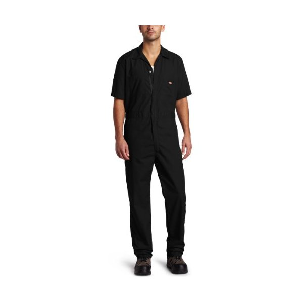 Dickies Men's Short Sleeve Coverall, Black, Small Regular