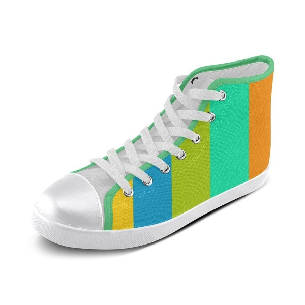 Artsdd Custom Day At The Beach (green piping) High Top Canvas Shoes for Women(Model002)