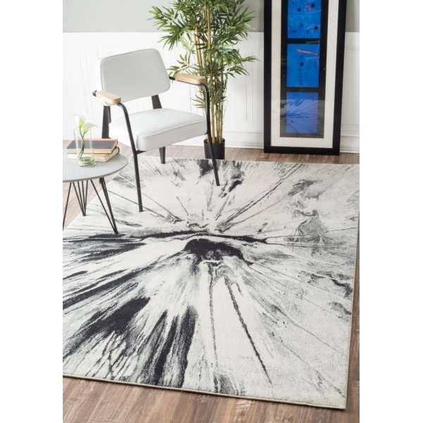 "Modern Abstract Volcano Grey Rug, (7' 10"" x 10' 10"")"