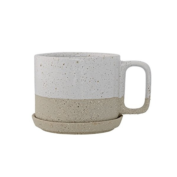 Bloomingville Ceramic Barbara Mug and Saucer Set, White
