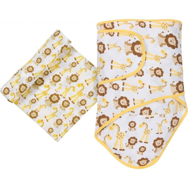 Miracle Blanket MiracleWare Muslin Swaddle Blanket and Miracle Blanket Set, Giraffes and Lions