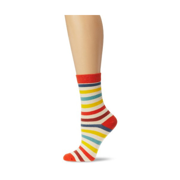 PACT Women's All Over Tomato Stripe Crew Sock, Multi, One Size