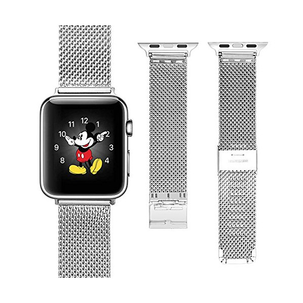 Apple Watch Band, Oittm [Milanaise] Stainless Steel Band Mesh Metal Replacement Strap with Adapter Wrist Watchband Classic Apple iWatch Strap with Metal Clasp for Apple Watch Sport & Edition (Milanaise 42mm)
