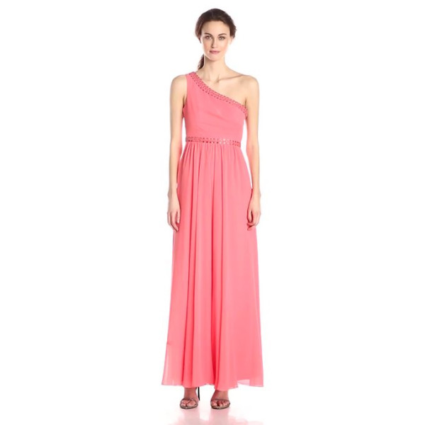 BCBGMax Azria Women's Daniele One Shoulder Gown with Embellishment, Pink Coral, 0