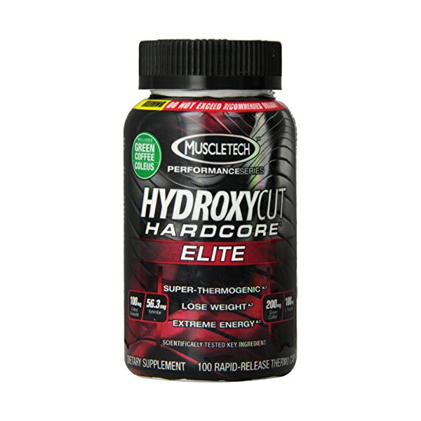 Hydroxycut Hardcore Elite-Svetol Green Coffee Bean Extract Formula, 100ct, 100mg Coleus Forskohlii, 56.3mg Yohimbe, 200mg Green Coffee, 100mg L-Theanin
