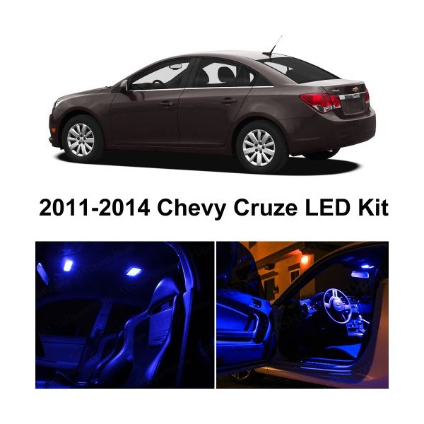 Chevy Cruze 2011-2014 Blue Premium LED Interior Lights Package Kit (6 Pieces)