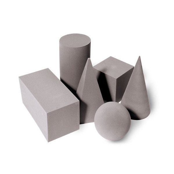 Foam Geometric Solids Set, Six-Piece, Gray
