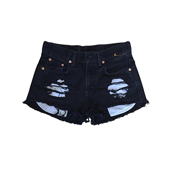 Women's High Rise Black Denim Destroyed Wrangler's Ripped Cut-Off Shorts-L