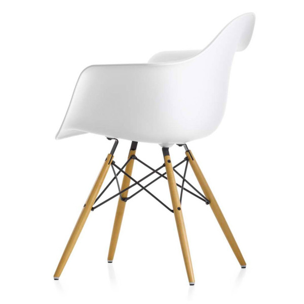 Eiffel Chair, White Plastic Arm Chair With Wood Eiffel Legs