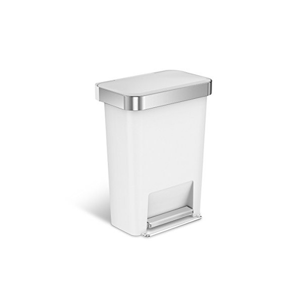 simplehuman Rectangular Step Can with Liner Pocket, 45 L/11.9 gallon (White Plastic)