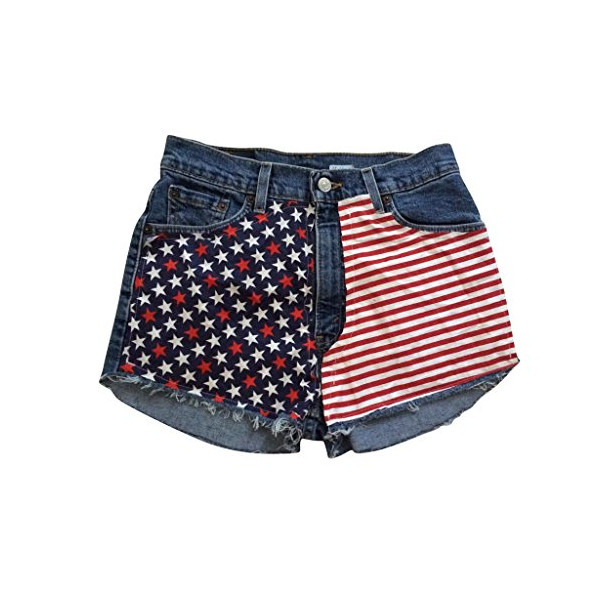 Women Vintage American Flag Levi Cut Off Frayed High Rise Blue Denim Shorts-L