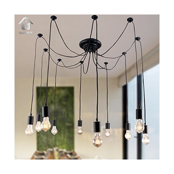 Unitary Brand Antique Black Large Barn Chandelier with 10 Lights Painted Finish
