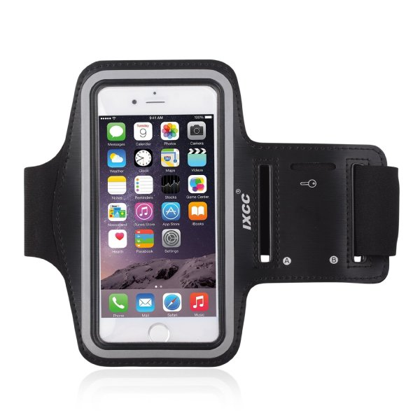 [Apple New iPhone 6 (4.7-inch) Armband] iXCC ® Racer Series Easy Fitting [Sport Gym Bike Cycle Jogging Running] Armband - Featured with Sweat Proof, Dual Arm-Size Slots and Key Pocket [Black]