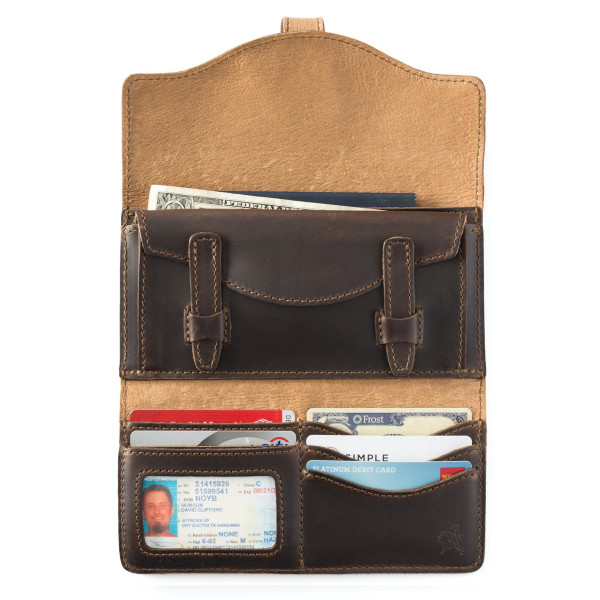 Saddleback Leather Long Trifold Wallet in Dark Coffee Brown