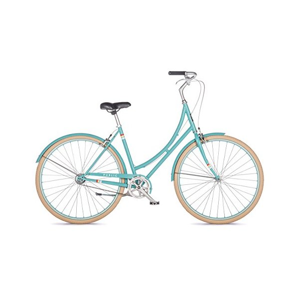 PUBLIC Bikes Women's C1 Dutch Style Step-Thru City Bike, Single Speed, Turquoise, 20-Inch/Large