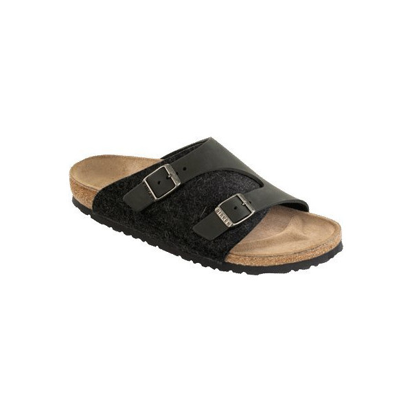 Birkenstock Sandals ''Zürich'' from Leather/Wool in Black/Anthrazit 39.0 EU R