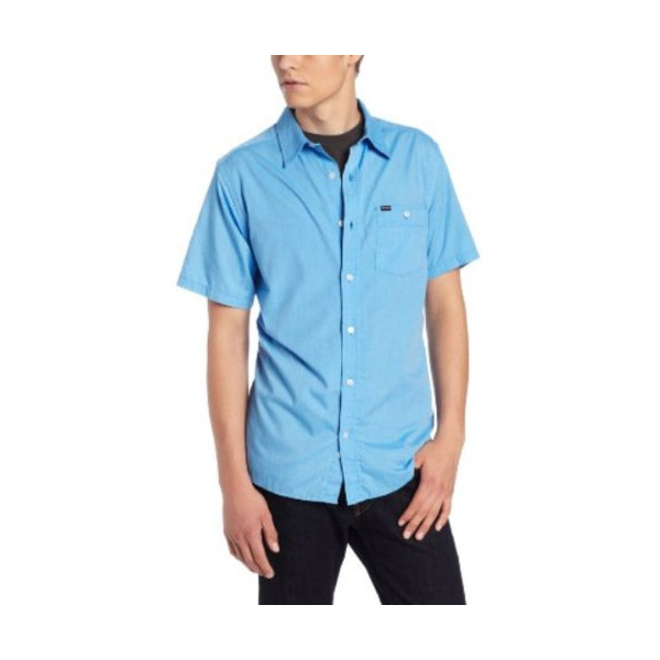 Hurley Men's Rise Solid Short Sleeve, Bay Blue, Small
