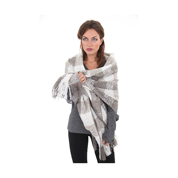 Ladies Madison Plaid Check Large Square Warm Thermal Winter Fashion Blanket Scarf Shawl