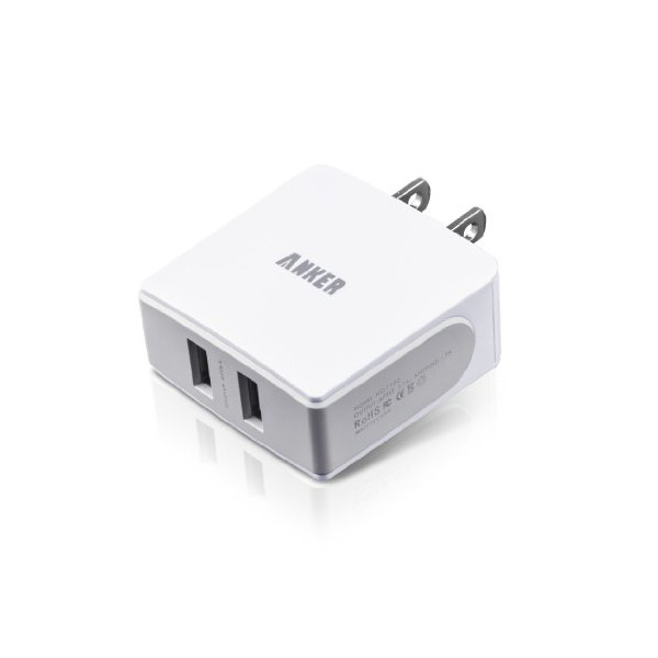 Anker® 18W / 3.6A Dual-Port USB Wall Charger / Portable Travel Charger - Simultaneous, full-speed charging(white)