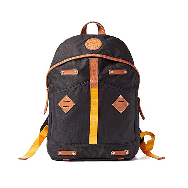 Will Leather Goods Give WILL Backpack Black Canvas with Tan leather trim Size Large