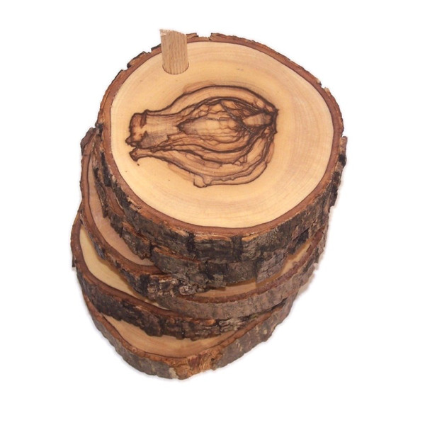Hand Carved Olive Wood Natural Coaster Set