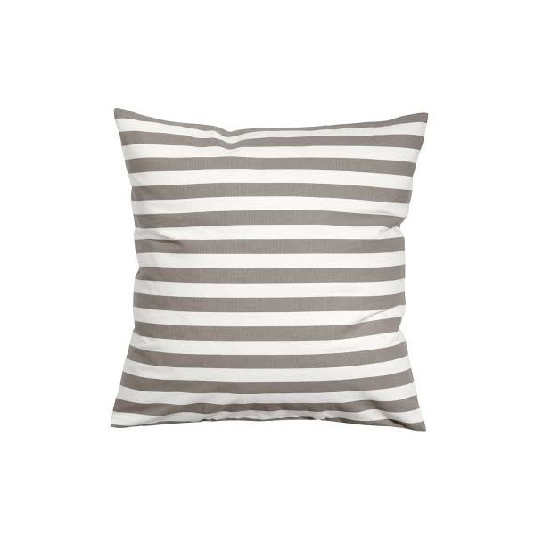 "Striped Accent Decorative 100% Cotton Canvas Throw Pillow Cover Cushion Light Taupe Warm Gray and White (18 x 18"")"
