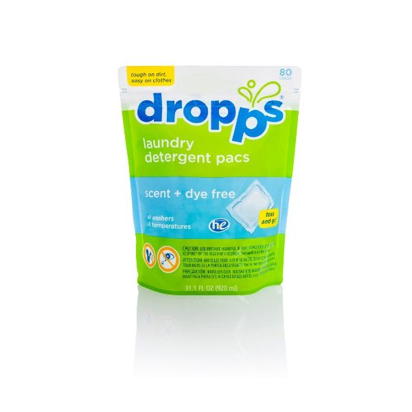Dropps Laundry Detergent Pacs, Scent and Dye Free, 80 Loads