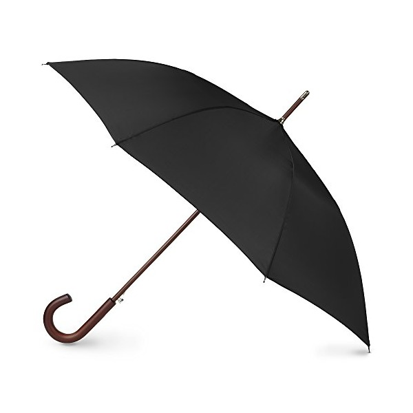 Totes  Blue Line Auto Wooden Stick Umbrella, Black, One Size