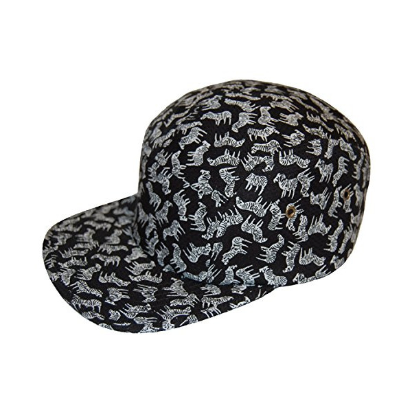 GP Accessories Men's Zebra All Over Print 5 Panel Hat Large Black