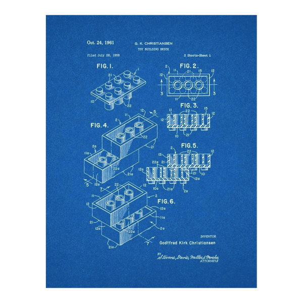 "Lego Brick Patent Art Blueprint Poster (24"" x 30"")"