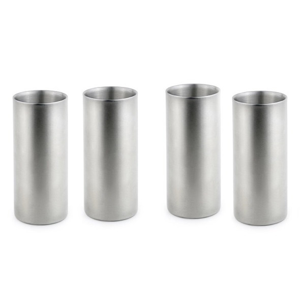Double-Walled Stainless Steel Drinking Glasses, Set of 4