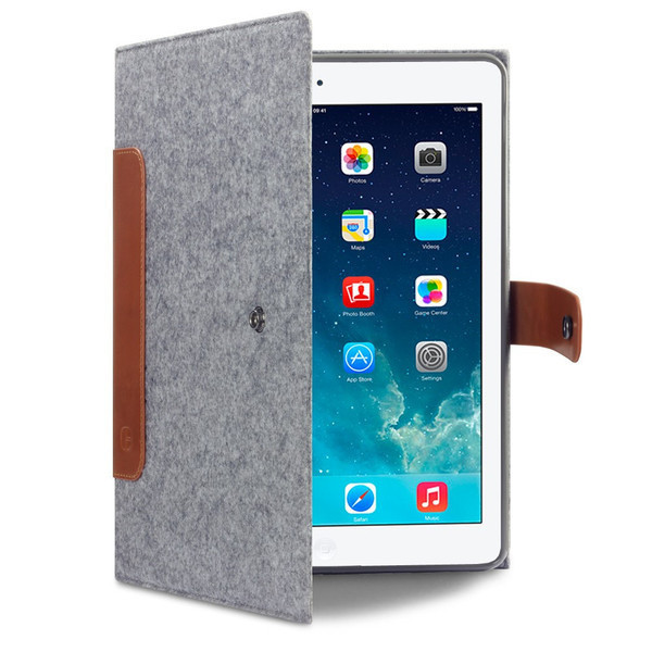 Cavalry Felt & Leather iPad Mini Folio Case by Covert (Charcoal/Brown)