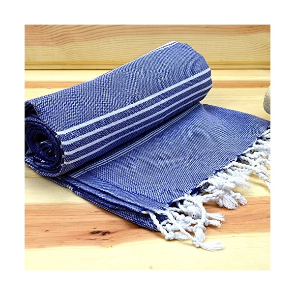 Hand Woven Soft Turkish Bath Beach Towel Pestemal 100% Cotton Size 39x71 Inches Dark Blue
