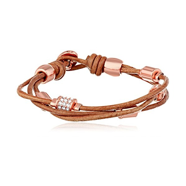 Fossil Barrel Leather Rose Gold and Nude Wrist Wrap Bracelet, 7.0''