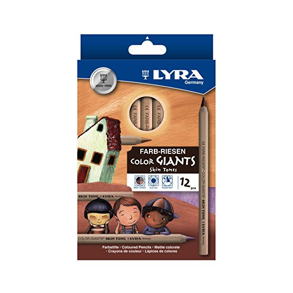 LYRA Color-Giants Unlacquered Colored Pencils, 6.25mm Cores, Set of 12, Skin Tone Colors (3931124)