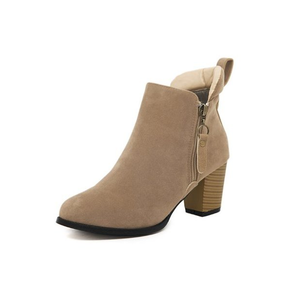 G Antini Women Imitation Suede Vamp Zip Fastening Side Ankle Booties