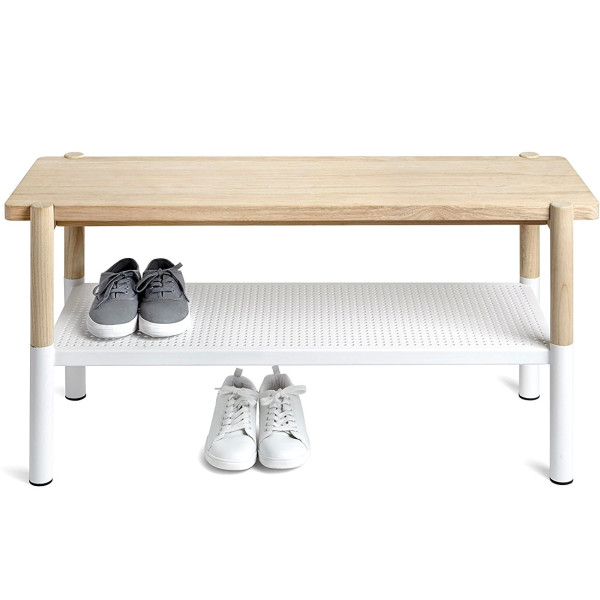 Umbra Promenade Bench, White/Natural